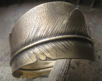 Bronze Flight Feather Cuff Bracelet