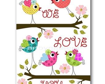 Bird Decor Birds Nursery Baby Girl Nursery Art Nursery Wall Art Baby Nursery Decor Kids Room Decor Kids Art Girl Print Birds Rose Green