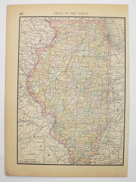 Antique 1887 illinois map idaho state map illinois gift for gumiabroncs Image collections