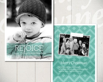 Christmas Card Template: Rejoice A - 5x7 Holiday Card Template for Photographers