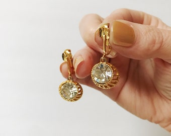 Vintage Gold HUGE Round Rhinestone Dangle Earrings