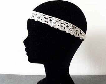 Old lace Bohemian wedding headband