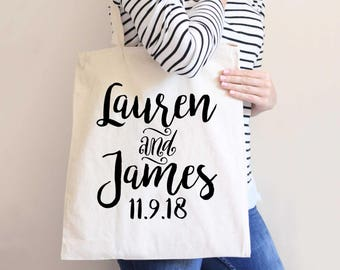 Wedding Favor Bags Gift for Bridal Party, Bride Friends, Tote Bag Favor Bags for Wedding Guests and Friends Personalized (Item - BAN300)