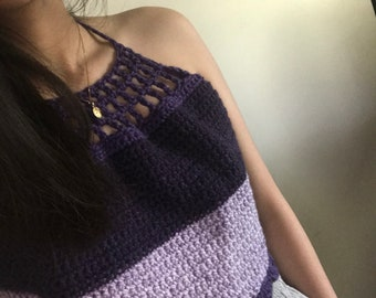 Boho Crochet Halter Top- Bumbleberry-Ready to ship