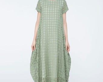 Sage Green linen dress, linen dress, green dress for women, plus maxi dress, loose linen dress, long linen dress, linen clothing C1070
