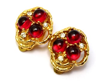 Vintage Jomaz signed domed red glass cabochon rhinestone clip on earrings