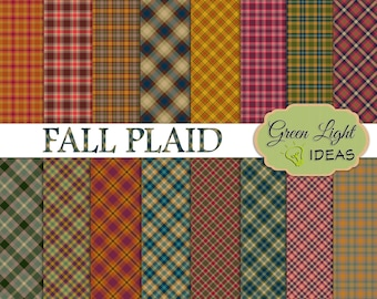 Fall Plaid Digital Papers, Autumn Digital Papers, Thanksgiving Digital Paper, Plaid Digital Background, Plaid Digital Patterns, Tartan Paper