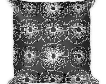 Black White Floral Square Pillow