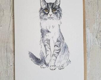 Norwegian Forest Cat - Blank art card