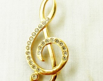 Napier Signed BROOCH Treble Clef Musical Note Mothers Day Gift Embedded Rhinestones Vintage Brooch Pin Teacher Gift