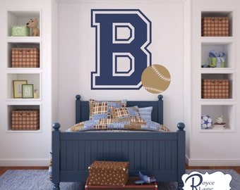 Varsity Letter Decal with Initial and Baseball for Teen Boys Bedroom Sports Wall Decal Baseball Wall Decal