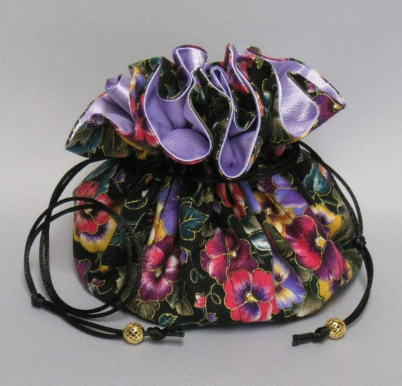 Jewelry Travel Tote---Drawstring Organizer Pouch---Colorful Pansy Floral Design-----Lavender or Black Satin---Eight Pockets---Large Size