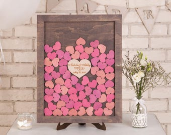 3d Wedding guestbook Alternative Drop box Wedding guest book Custom Drop Top Guest Book Wedding Wishes Box Guestbook Frame Wood Hearts PINK