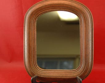 Red Stained Wooden Framed Mirror