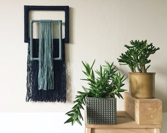 textile wall hanging | yarn wrapped picture frames | geometric tapestry | colorful fiber art | blue home decor | contemporary | wall art