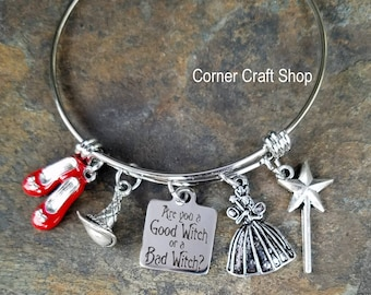 WIZARD OF OZ Are You a Good Witch or Bad Witch Dorothy Movie  Inspired Bangle Charm Bracelet Glenda Wicked Witch Hat Wand Ruby Slippers