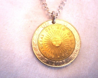 Golden and silver Argentina Sol necklace