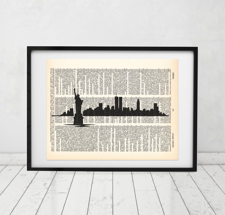 New York Skyline Statue von Liberty Wörterbuch Kunstdruck