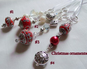 Beaded Christmas ornaments  - crimson red icicles -  unique holiday gift - tree ornaments - glass Christmas tree hangers - silver ornament