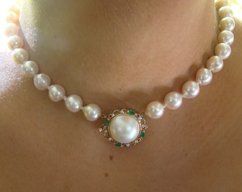 9.5mm Baroque Akoya Pearl Choker with Vintage 14K YG, Mabe Pearl, Emerald and Diamond Clasp