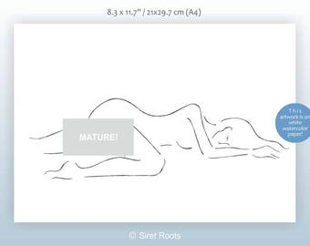 Erotic nude sketch. Art for bedroom decor. Woman on bed drawing. Line art sketch. Female nude.