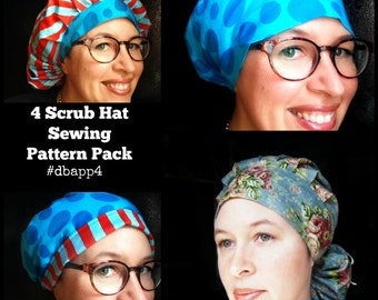 DIY Scrub Hat Sewing Pattern tutorial Four Women's Surgical Scrub Hat Sewing Instructions pdf  DOWNLOAD ONLY #dbapp4