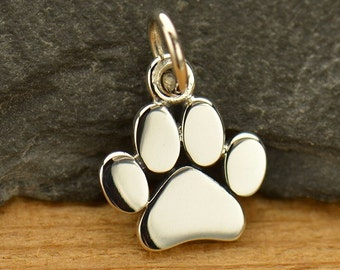 Paw Print Charm - small sterling silver dog or cat paw charm