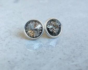 Stud earrings, Silver earrings, Grey earrings, Swarovski earrings, Round earrings, Silver Grey earrings, Crystal earrings, Stud Swarovski