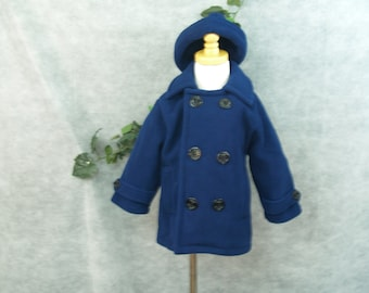 Vintage BOYS COAT Size 2T Blue 100 percent Poly, Jackets & Coats, Hipster Winter Wear, Girls, Unisex, Pea Coat Style,Winter Coat, Abrigo