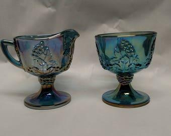Blue Carnival Glass Creamer and Sugar Set