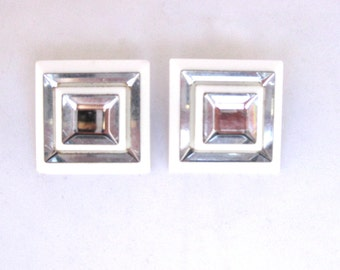 Vintage Square Lucite Mirrored Clip On Earrings