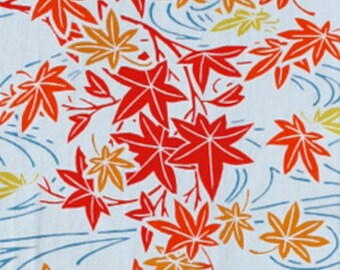 Japanese Tenugui Towel Cotton Fabric, Autumn, Maple Leaf, River, Hand Dyed Fabric, Traditional Art Fabric, Home Decor, Table Cloth, wf091