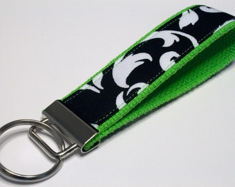Fabric Key Fob, Key Chain, Key Ring, Key Holder, Wristlet Key Fob, Wristlet Keychain, Fabric Key fobs-Reverse green