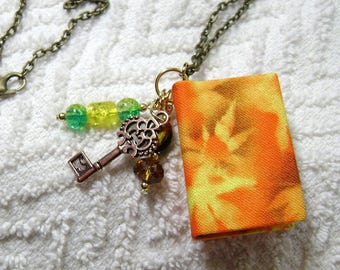 Handmade Book Necklace - Book Jewelry - Book Pendant - Book Journal - Handmade Book - Leaf Fabric - BN-170
