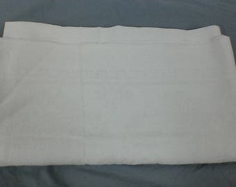 Vintage woven linen white tablecloth.