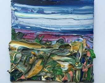 "4"" x 4"" abstract impasto landscape, oil on canvas board."