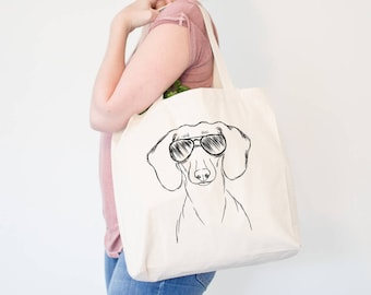 Hans the Dachshund Dog Canvas Tote Bag - Gifts For Dog Owner, Doxie Tote Bag, Dog Lover Bag, Wiener Dog