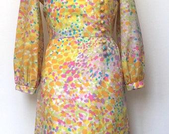 60s silk watercolour print vintage dress size 10