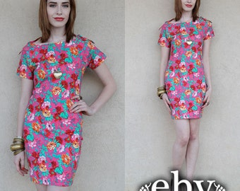 Vintage 90s Floral Bandage Mini Dress S M Tight Dress Floral Dress Summer Dress Bandage Dress Bodycon Dress Pink Dress