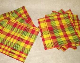 set of 4 napkins madras