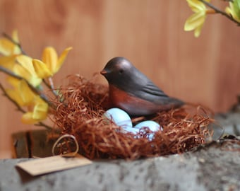 Robin Bird with Nest and Speckled Eggs