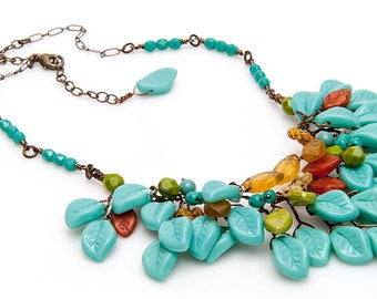 Turquoise Boho Bib Necklace, Turquoise Leaf Necklace, Turquoise Boho Necklace, Nature Jewelry, Beaded Necklace, Statement Necklace, CPJ N533