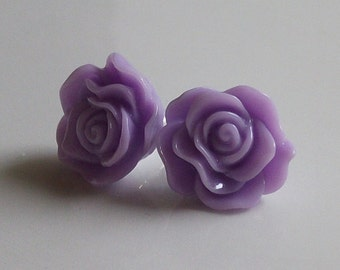Small Lavender Rose Earrings