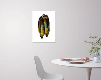 The Big Bananas  (Top View) - 18x24 Watercolor Banana Still Life Large Scale Poster - Oversized Print Statement Art