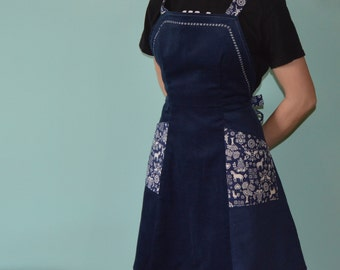 Women's Apron- Dark Blue Corduroy with Vintage Contrast, Cute Apron, Vintage Apron, Handmade Apron, Vintage Style Apron, Mother's Day