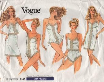 1980s Vogue 2146 Misses Lingerie Slip Camisole Panties Teddy Pattern Womens Vintage Sewing Pattern Size L XL  Bust 38 44 Or XS S M UNCUT