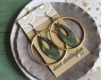 Solstice Keyhole Earrings mixed metal hoops