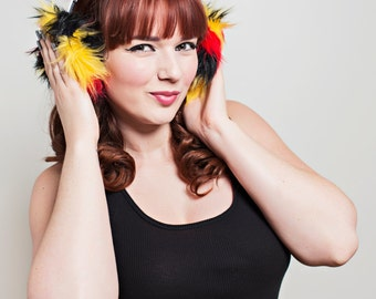 Red Black and Yellow Spike Fur Headphone Covers