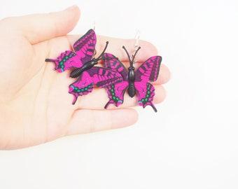 Butterfly Earrings - Deep Pink