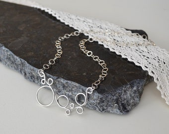 Circle Necklace, Silversmithed Necklace, Sterling Silver Necklace, Multi Circles